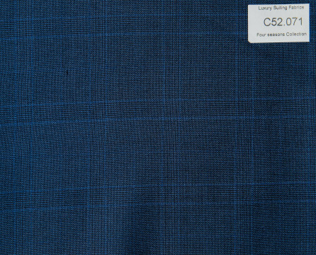 C52.071 Kevinlli Four Season Colletion - Vải 50% Wool - Xanh navy Caro