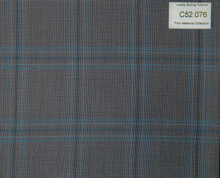 C52.076 Kevinlli Four Season Colletion - Vải 50% Wool - Xám Caro