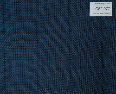 C52.077 Kevinlli Four Season Colletion - Vải 50% Wool - Xanh navy Caro