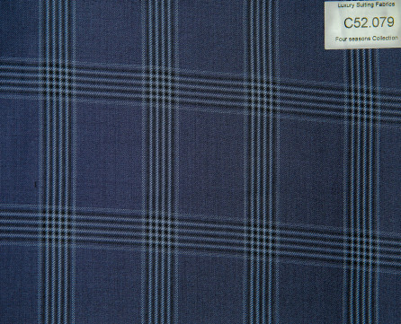 C52.079 Kevinlli Four Season Colletion - Vải 50% Wool - Xanh navy Caro