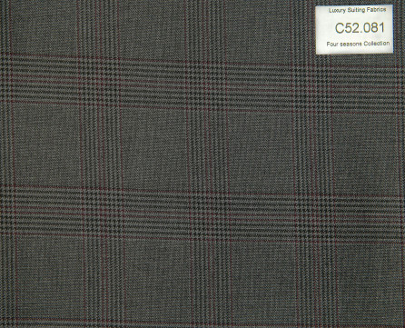 C52.081 Kevinlli Four Season Colletion - Vải 50% Wool - Xám đen Caro
