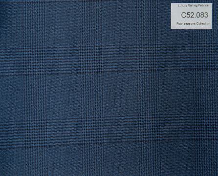 C52.083 Kevinlli Four Season Colletion - Vải 50% Wool - Xanh navy Caro