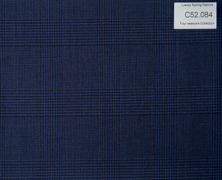 C52.084 Kevinlli Four Season Colletion - Vải 50% Wool - Xanh navy (đậm) Caro