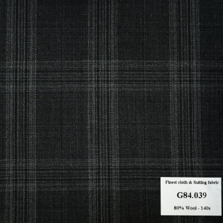 G84.039 Kevinlli V7 - Vải Suit 80% Wool - Xám than caro